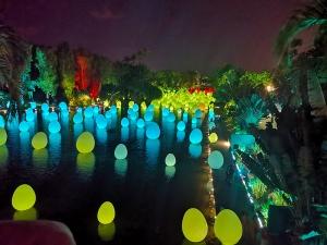 Licht- und Toninstallation auf Wasser im Garden by the Bay.